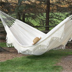 White Hammock with Crochet Fringe