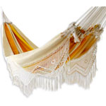 Novica Sleeping Hammock: with Orange and Yellow Stripes with White Fringe