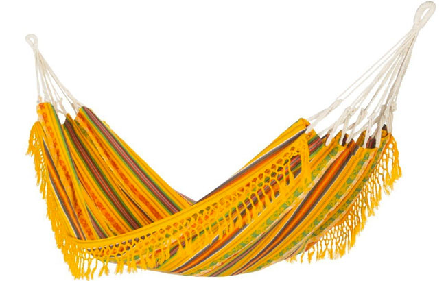 Yellow and Orange Ecuadorian Hammock with Fringe