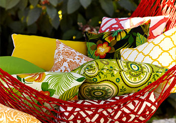 Red Hammock with Colorful Pillows