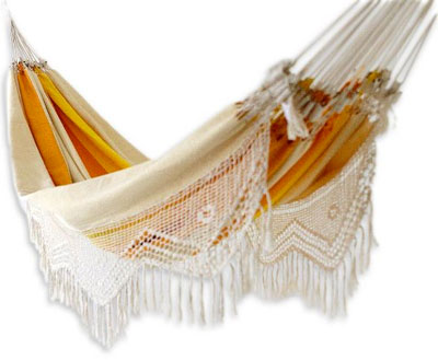 novica brazilian hammock in orange and yellow with white hanging fringe the novica hammock   relax sleep and even work in it  rh   sleepinginahammock
